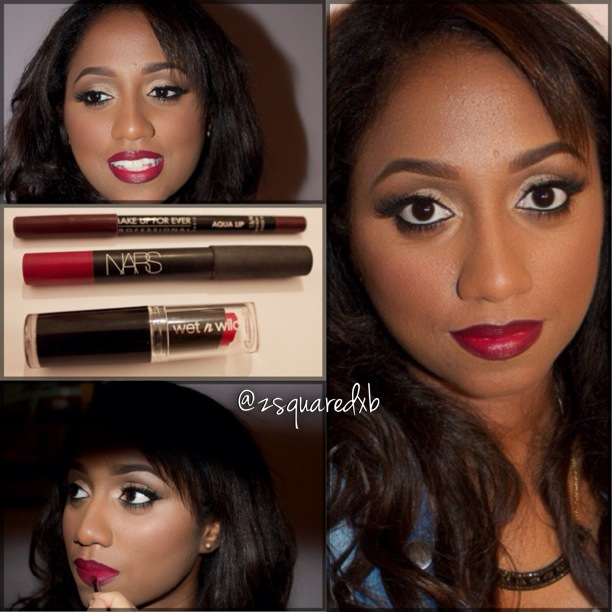 Neutral eyeshadow with Burgundy lipstick